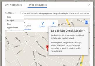 Google térképet érdemes beágyazni a kezdőoldalunkba vagy a láblécbe, így megkönnyítve látogatóinknak az útvonaltervezést…